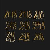 Handdrawn brush lettering set with numbers 2018. Stock Images