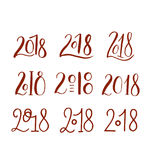 Handdrawn brush lettering set with numbers 2018. Royalty Free Stock Photos