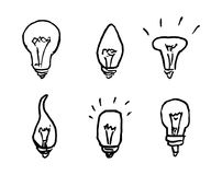 Handdrawn bulbs set doodle icon. Hand drawn black sketch. Sign c vector illustration