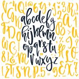 Handdrawn Letters and Symbols. Handdrawn calligraphic font. Latin alphabet drawn by hand. Vector calligraphy font with unique texture stock illustration
