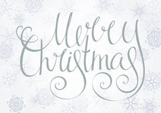 Handdrawn calligraphic inscription Merry Christmas Royalty Free Stock Images