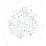 Handdrawn Christmas Card. Have  Magical Christmas and Happy New Year - Handdrawn Unique Vector Lettering Surrounded with Doodle Elements, such as Stars Stock Photos