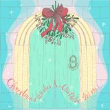 Handdrawn Christmas Mistletoe Under the Door. Handdrawn Christmas Mistletoe with Red Ribbon Under the Retro Styled Door and Christmas Lettering. Decorative Royalty Free Stock Image