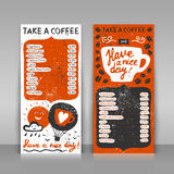 Handdrawn coffee menu. Coffee menu set. 2 paper cards on gray background. Hand drawn grunge illustration with lettering. Take a coffee and have a nice day! Royalty Free Stock Image