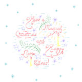 Handdrawn Colorful Christmas Card. Have  a Magical Christmas and Happy New Year - Colorful Handdrawn Unique Vector Lettering Surrounded with Doodle Elements Royalty Free Stock Photo