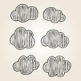 Handdrawn do ícone das nuvens com fundo limpo Imagens de Stock Royalty Free