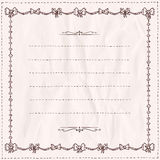 Handdrawn doodle frame with bows on a paper. Stock Images