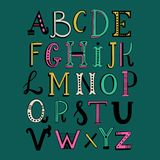 Handdrawn doodle lettering alphabet royalty free stock photos