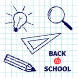 Handdrawn doodle Magnifier, pencil, light bulb Royalty Free Stock Photos