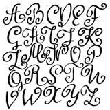 Handdrawn dry brush font. Modern brush lettering. Grunge style alphabet. Vector illustration. Royalty Free Stock Photo