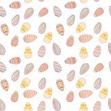 Handdrawn easter sömlös modell med ägg stock illustrationer