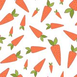 Handdrawn easter seamless pattern wit carrot stock illustration