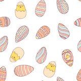 Handdrawn easter seamless pattern with eggs vector illustration