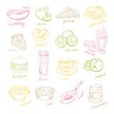 Handdrawn Fast Food and Fruits. Vector Illustartion Stock Photos
