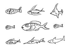 Handdrawn fish set doodle icon. Hand drawn black sketch. Sign ca stock illustration