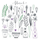 Handdrawn floral doodle collection. Cute decorative elements for design invitation and greeting cards. Vector set Royalty Free Stock Images