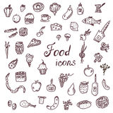 Handdrawn food icons, funny style set Stock Photo