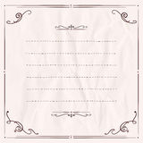 Handdrawn frame with antique curls on a paper. Royalty Free Stock Images