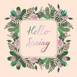 Handdrawn Floral frame with greeting Hello Spring stock illustration