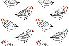 Handdrawn funny cute birds pattern vector Stock Photography