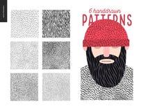Handdrawn geplaatste patronen Stock Foto