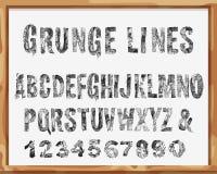 Handdrawn Guss Alphabet und Zahlen mit Schmutz-Linien und Anschlägen Vektor Lizenzfreie Stockfotos
