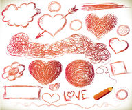 Handdrawn hearts Stock Photos