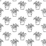 Handdrawn house plant in pot pattern doodle icon. Hand drawn bla vector illustration