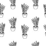 Handdrawn house plant in pot pattern doodle icon. Hand drawn black sketch. Sign symbol. Decoration element. White background. Iso vector illustration