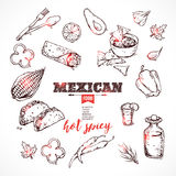 Handdrawn icons Mexican food. Stock Photo