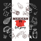 Handdrawn icons Mexican food. Royalty Free Stock Image