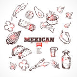 Handdrawn icons Mexican food. Royalty Free Stock Photography