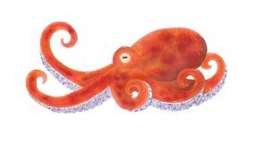 Handdrawn illustraties van een oranje octopus stock foto's