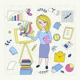 Handdrawn Illustration auf Berufkonzept Vorderseiteentwickler vektor abbildung