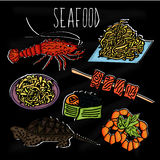 Handdrawn illustration from the collection of seafood. The old school blackboard with colorful colorful sea creatures and dishes f Stock Photos