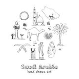 Handdrawn Illustration of Saudi Arabia Landmarks and icons with country English  Arabic Modern doodle sketch vector Royalty Free Stock Photos