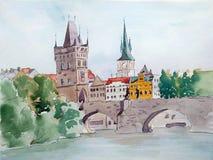 Handdrawn illustration Vattenfärgfärglandskap av Prague, Charles Bridge stock illustrationer