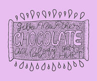 Handdrawn with ink quote: Give me the chocolate and nobody gets hurt - typography poster, lettering. Stock Image