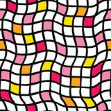 Handdrawn irregular grid. Vector seamless pattern. Black grid with yellow, orange, and pink colored squares. Optical Illusion. vector illustration