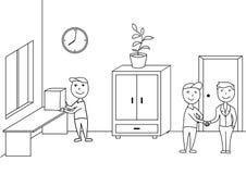 Handdrawn krabbel vectorillustratie, leveringsmensen in bureau Royalty-vrije Stock Foto's