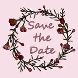 Handdrawn krans som göras i vektor Unik garnering för hälsningkortet, bröllopinbjudan, sparar datumet Royaltyfri Bild