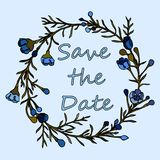 Handdrawn krans som göras i vektor Unik garnering för hälsningkortet, bröllopinbjudan, sparar datumet Arkivfoto