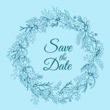 Handdrawn krans som göras i vektor Unik garnering för hälsningkortet, bröllopinbjudan, sparar datumet Royaltyfria Bilder