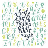 Handdrawn latin calligraphy brush script with numbers and symbols. Calligraphic alphabet. Vector stock illustration