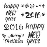 Handdrawn lettering. Big set of handdrawn new year and christmas lettering. Vector xmas collection. Decoration element for cards and invitations Stock Photo