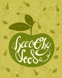 Handdrawn Lettering Calligraphic text Healthy Food with Green Apple. Vintage Greeting Card,Poster, Voucher for Product Shop,Market Stock Images