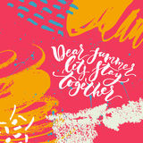 Handdrawn lettering card Stock Photos