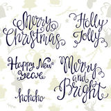 Handdrawn lettering merry Christmas and happy new year  on white background. Stock Image
