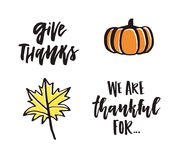 Thanks Giving Collection. Handdrawn lettering on thanksgiving theme. Unique calligraphic quotes and phrases Stock Photography