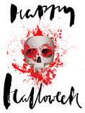 Handdrawn lettering on watercolor blood drops background. Vector skull. Day of The Dead. Happy halloween. EPS10 Stock Photo